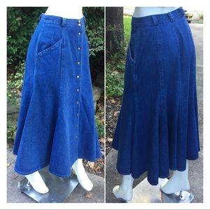 Vintage Denim Prairie Button Down Full Maxi Skirt